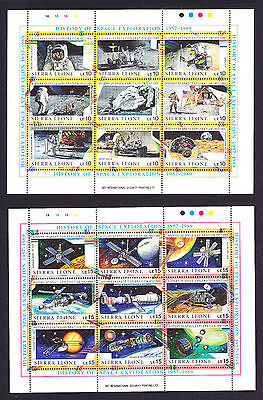 Two Sierra Leone Stamp Sheets celebrating History of Space Exploration Travel