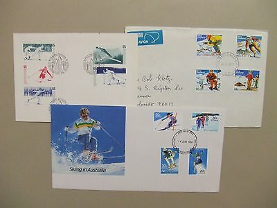 Three covers with Skiing complete sets.Two are fdc