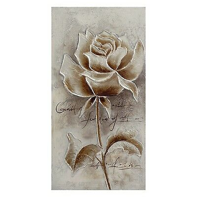 Vintage Metallic Gold Rose Hand Painted Canvas Home Wall Art Print Decor