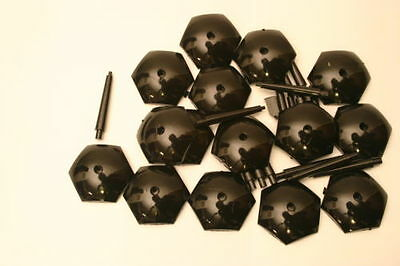 25 (Twenty Five) 25mm Black Hex Flying Bases for Wargaming and Roleplaying NEW