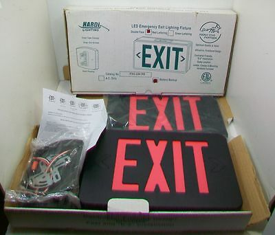 Lot/2 New Hardi Lighting Exit Sign Double Face Red Lettering Battery Backup
