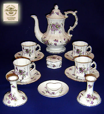 """Hammersley """"victorian Violets"""" Coffee Pot And Coffee Set Service"""