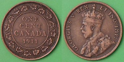 1911 Canada Large 1 Cent Graded as Fine to Very Fine