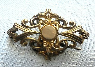 Very Small Edwardian Gold Tone Pin with Engravable Center