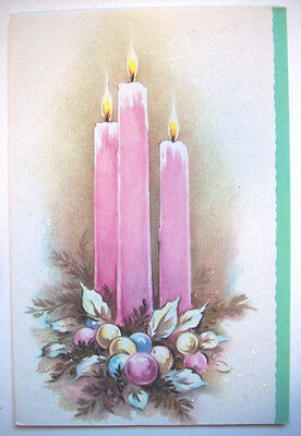 Glitter pink candles Christmas vintage greeting card *I