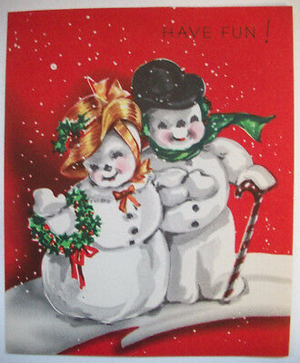 Snowman couple out for stroll Christmas vintage greeting card *J