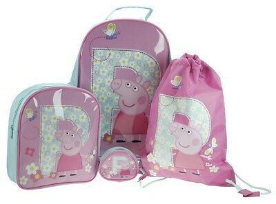 Peppa Pig Luggage Set 4 Piece Trolley Bag, Backpack, Swim/Library Bag and Purse