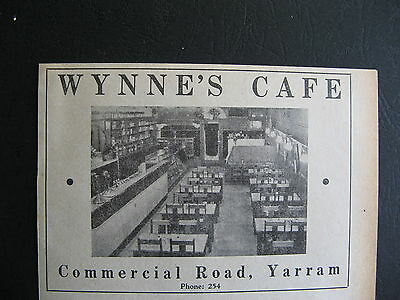 Wynne's Cafe Commercial Rd Yarram 1949 Advertising