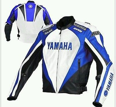 Yamaha Blue/white Motorbike Leather Jacket - Ce Approved Full Protection