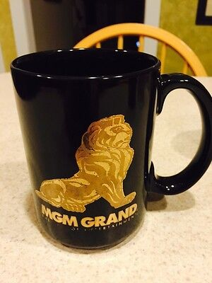 MGM Grand Las Vegas Coffee Cup/Mug Large Black Gold Lettering