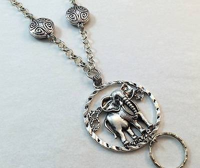 Elephant Pendant Silver Chain Lanyard Badge Id Holder - Breakaway Option