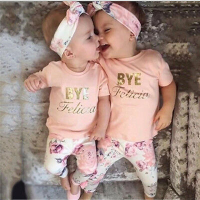 Floral Baby Girls Long Sleeve T-shirt+Pants Headband 3pcs Outfits Clothes Set