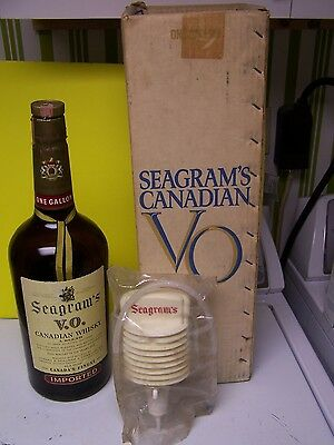 Vintage Seagrams Canadian Whiskey VO Gallon Glass Bottle w/ Pump ,Box RARE EMPTY