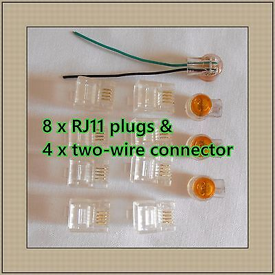 8 x RJ11 RJ12 6P4C Modular Plug & 4 x two-wire Phone cable connector