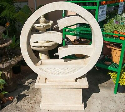 GRC Garden Patio Water Feature Harmony Round Cascading Fountain Sandstone