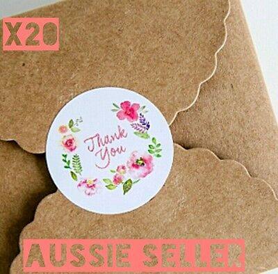 Thank You Stickers Floral Round Labels Seals Bomboniere Gift Favour Wedding Card