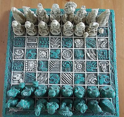Aztec/Mayan Chess Set Board and Pieces