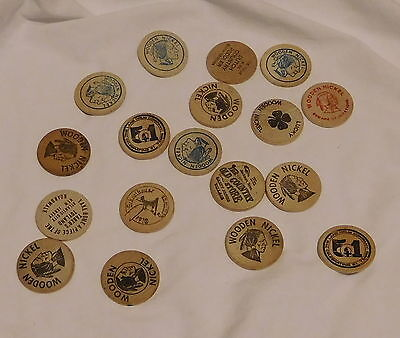 vintage lot of 18 Wooden Advertising Nickels