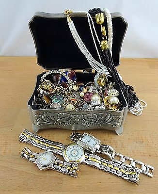 Lot of Costume Jewellery Vintage Necklaces Earrings Brooch Bulk Estate with Box
