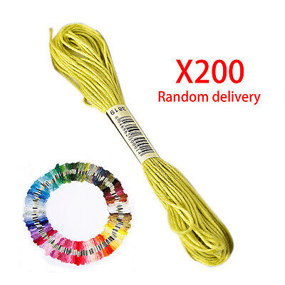 200Pcs Cotton Cross Floss Stitch Thread Embroidery Sewing Skeins Multi Colors
