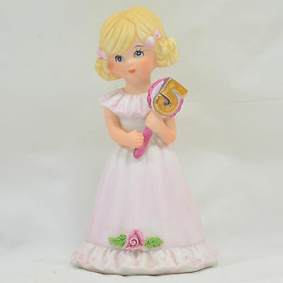 Enesco GROWING UP BIRTHDAY GIRLS Figurine - Age 5 - Blonde - 1981