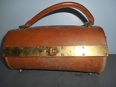 Antique Brown Leather Lady Doctors Medical Bag Brass Latch & Hdw. With Contents