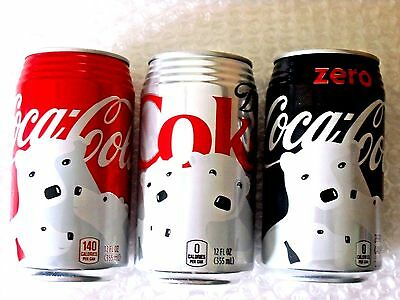 NEW 2016 FULL 12oz HAWAII USA COKE COCA COLA POLAR BEAR - LOT of 3 - Ribbed Can