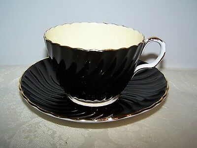 Beautiful Aynsley Black Swirl English Bone China Cup & Saucer
