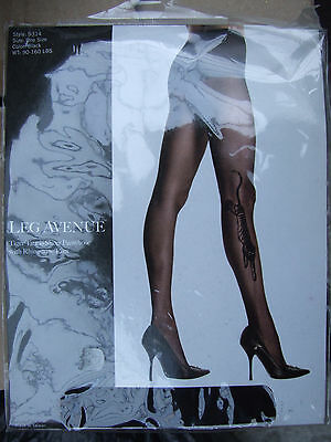 BNIP Leg Avenue S/M Black Tights with Panther Leopard Tiger & Diamante Eyes FAB