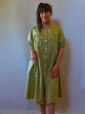 vintage true 60s unused 2XL 3XL 20 plus size green cotton brunch coat robe gown