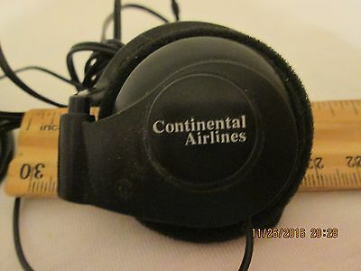 Continental Airlines Airplane Wired Head Phones Ear Holders black advertisement
