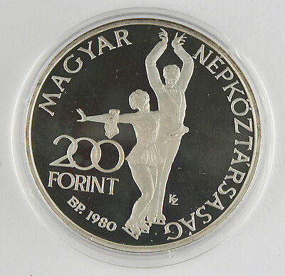 HUNGARY 1980 200 FORINT Piefort PROOF 32 Gram SILVER Coin Olympics