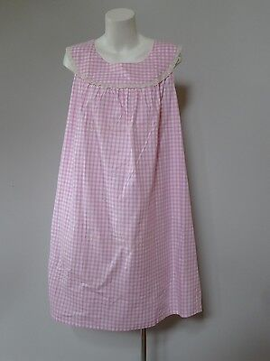 vintage retro true 60s unused 2XL 20 - 22 pink check cotton nightie nightgown