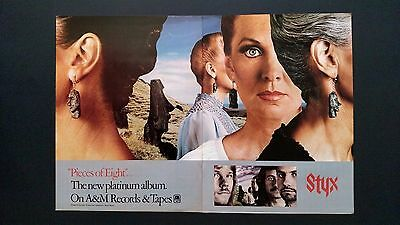 "Styx ""pieces Of Eight"" (1978) Rare Original Print Promo Poster Ad"