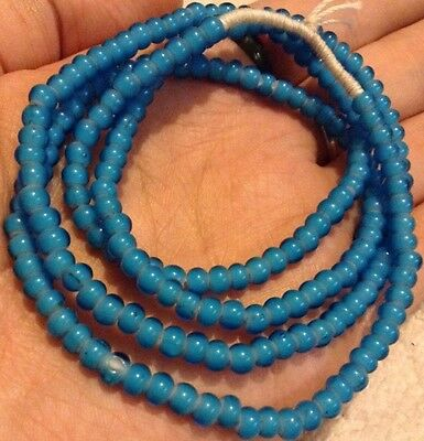 BABY BLUE OLD WHITEHEARTS TRADE BEADS LONG STRAND 28in 4 To 5mm BEADS VERY NICE!