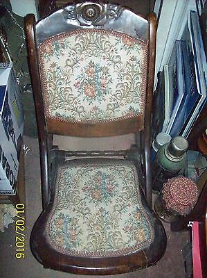 Vintage Wood Folding Rocker Rocking Chair with Tapestry Fabric Seat