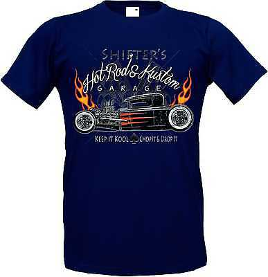 T Shirt in Navyblauton with Hot Rod US Car `50 Style Motif Model Shifter`