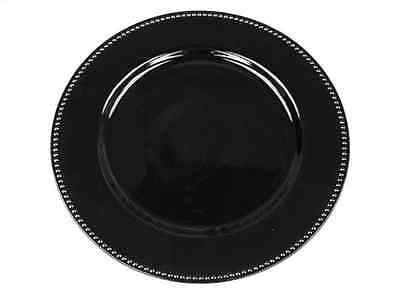 Black Glossy Charger Plate, Black Beaded Edge Candle Tray, Wedding Table Decor