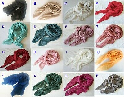 Large Soft Cotton Linen Ladies Blanket Scarves Wrap Shawl Fringed Vintage Color
