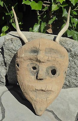 Native Mexican Shaman Mask  with Deer Horns VERY OLD