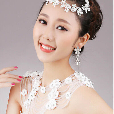 Bridal Lace Necklace Rhinestones Shoulder chain Wedding Formal Jewelry