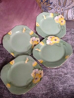 Shelley Tea Plates x 4 ~ Green With Yellow Flowers