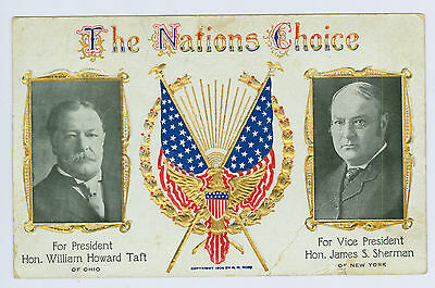 1908 William Taft For President, James Sherman for VP Campaign Real Photo PM PC