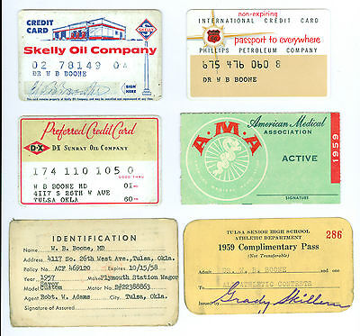 3 1950s Diff Gas Credit Cards, Skelly Oil Co, Phillips Oil Co, D-X Sunray Oil