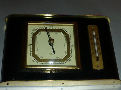 Barometer mit  Thermometer Fischer in edlem Holz/Messing