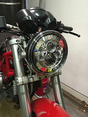 "Motorbike Cafe Racer CREE LED Headlight upgrade Chrome 7"" Inch E & DOT Approved"