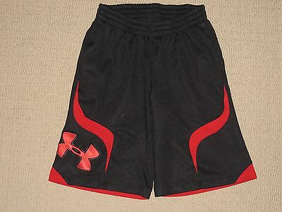 Boys Kids Under Armour Shorts Youth Medium YMD Black Red Athletic Basketball