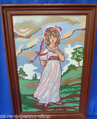 Antique Estate Original Pink Lady Framed  tapestry Beautiful Maiden 60cm