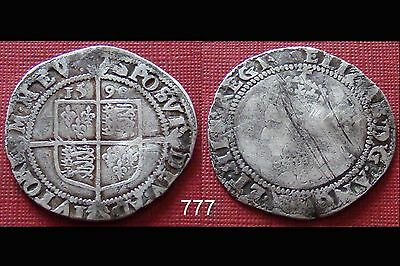 1590 Elizabeth - I Hammered Silver Sixpence mm.Hand ( 86 )