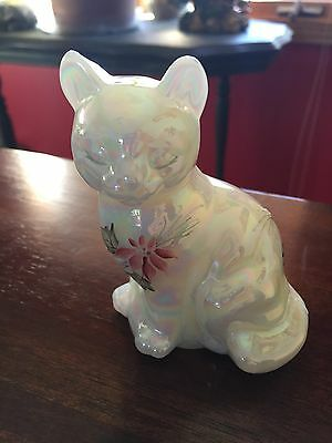 Fenton Cat USA. Hand painted signed and tag opalesent Mother of pearl